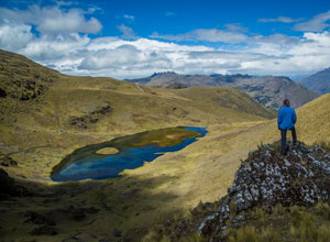 At Challwaacas Pass on the Lares trek