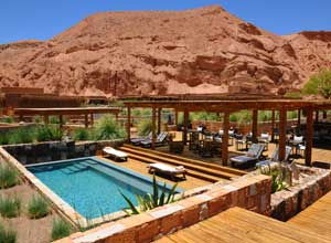 Plunge pool and terrace at Alto Atacama