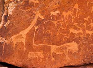 Visit the rock painting at Twyfelfontein from Mowani Mountain