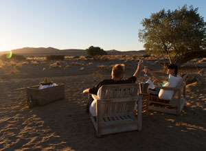 Sundowners at Kulala Desert Camp