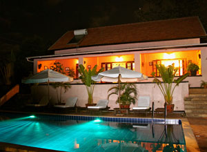 The Boma Guest House at night