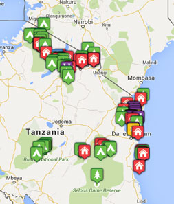 Mini map of tanzania