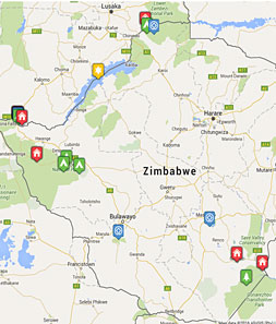 Mini map of zimbabwe