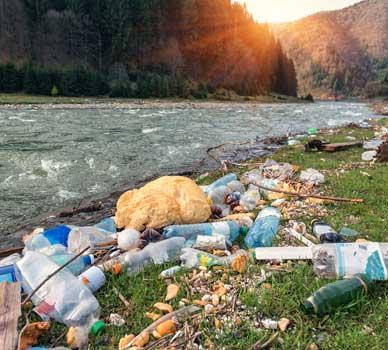 plastic on river bank